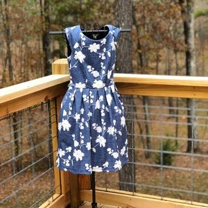 Anthropologie Chambray Embroidered Dress Size P4